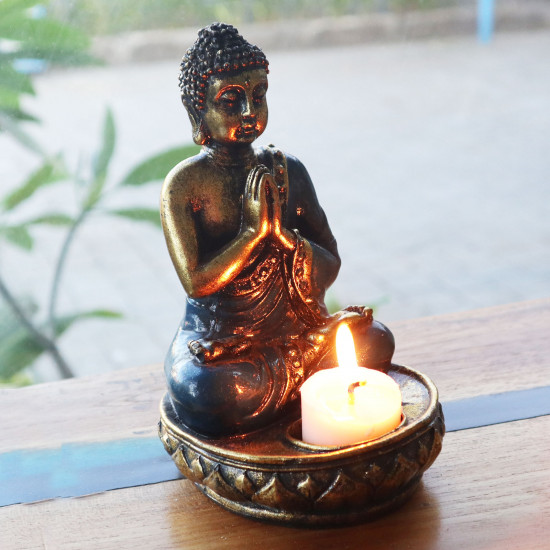 Buddha - Lysholder - Rød