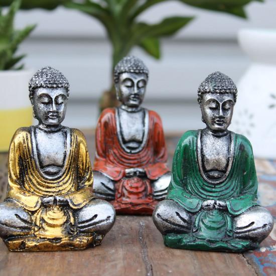 Buddha - Sølv med farger