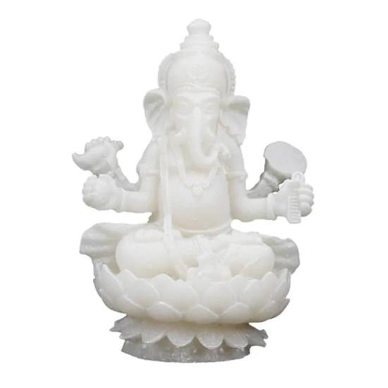 Ganesha sittende på lotustrone - hvit - statue