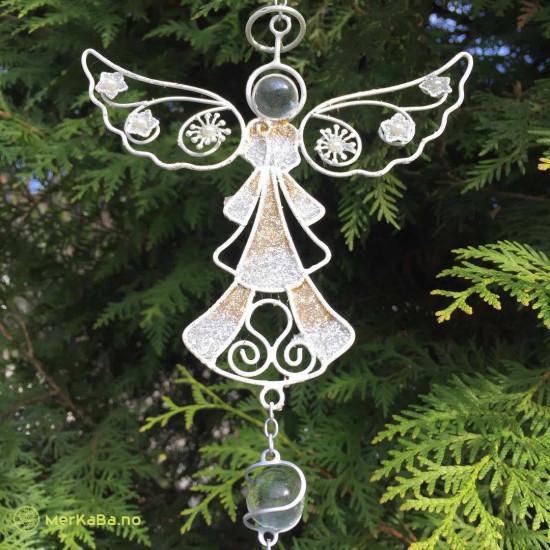 Sølvengel med blomster på vingene - Vindspill