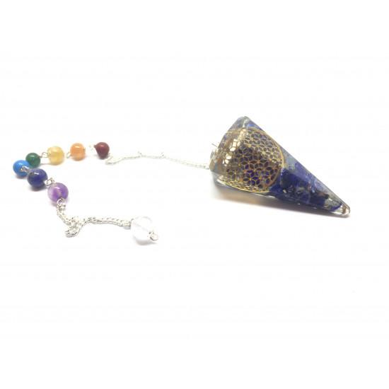 Orgone - Lapis Lazuli med Flower of life og syv chakraperler - Pendel