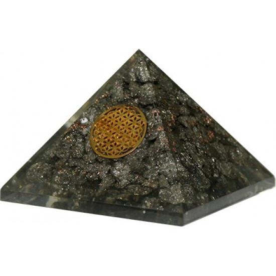 Orgone Pyritt Pyramide - Flower of life
