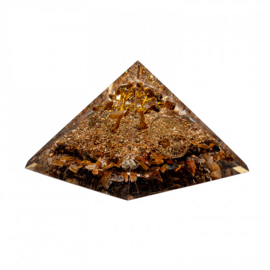 Orgone Tigerøye Pyramide - Tree of life