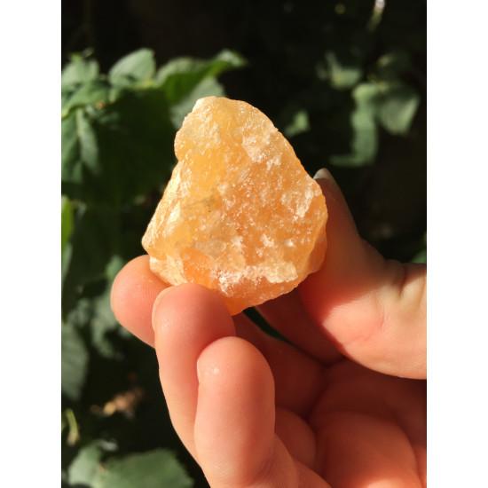 Oransje Kalsitt - Rå krystall
