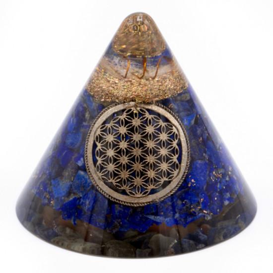 Orgone - Lapis Lazuli med Flower of life - Kjegle