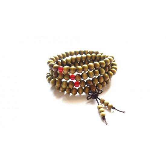 Mala kjede - Grønt med røde perler - 8 mm