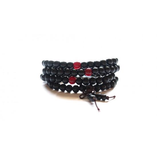 Malakjede - Sort med røde perler - 8 mm
