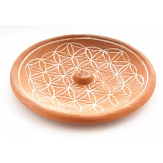 Flower of life - Brun keramikk - Røkelsesholder