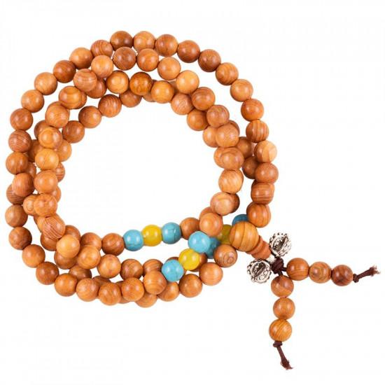 Malakjede - Lyse brunt med turkise og gule perler - 6 mm
