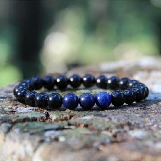 Shungitt med lapis lazuliperler - Armbånd