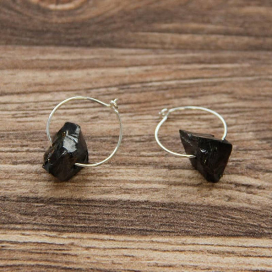 Shungitt - Elite hoop crystal - Øredobber