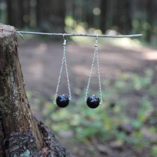 Shungitt - Dangle chain - Øredobber