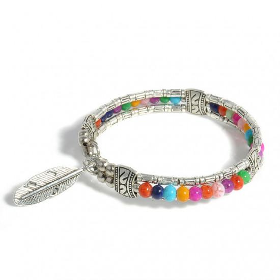Fjær armbånd med perler - flerfarget