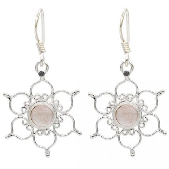 Lotus - Rosenkvarts - Sølvøredobber
