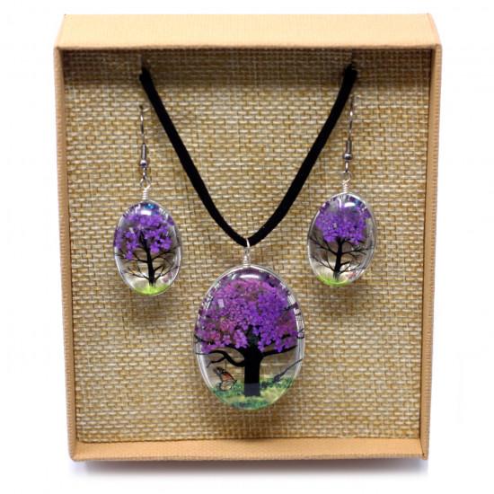 Livets tre - Smykkesett - Lavendel