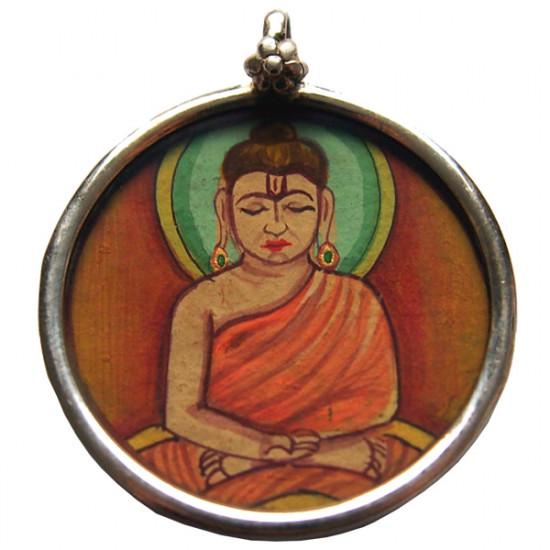 Buddha anheng, rund-sølv