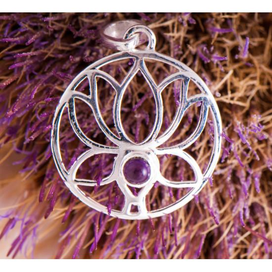 Lotus med ametyst - Sølvanheng