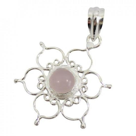 Lotus - Rosenkvarts - Sølvanheng
