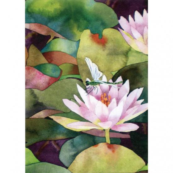 Sympathy Greeting - Waterlillies & Dragonfly - Kort