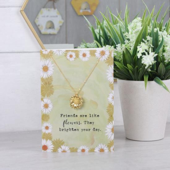 Kort med halskjede - Friends Are Like Flowers