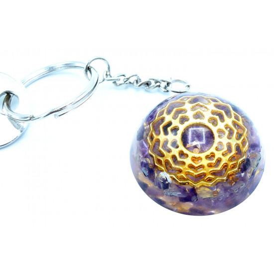 Orgone - Ametyst Mandala - Nøkkelring