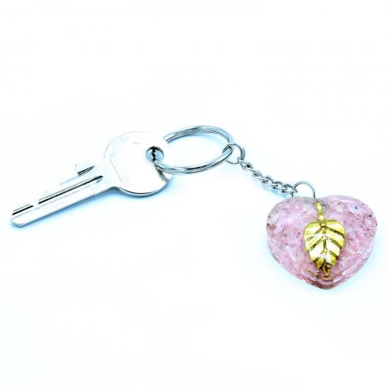 Orgone - Rosenkvarts hjerte - Nøkkelring